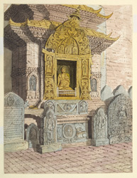 Shrine of the 2nd Celestial Buddha, Akshobya: on the eastern side of the base of the Temple of Adi Buddha at Sambhunath. April 1854